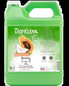 Shampoing 2 en 1 pour animaux à la papaye et nois de coco, Tropiclean 1 gallon concentré