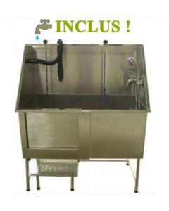 Bain de toilettage en acier inoxydable pour animaux