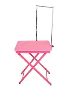Table de toilettage pliante rose, avec support et courroie, Shernbao